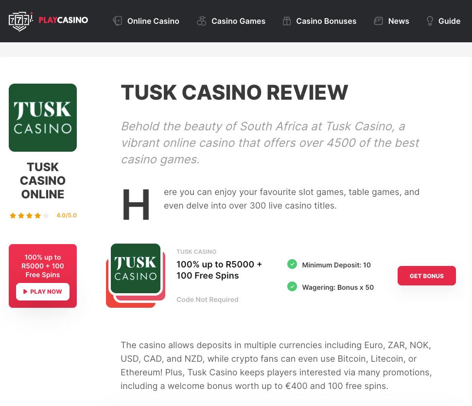 Tusk Casino Reviewed by Playcasino